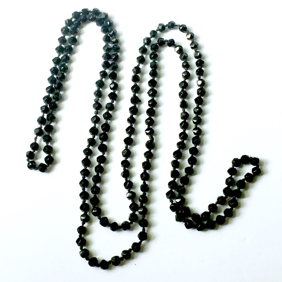 Antique Jewelry - Antique French JET Glass Beaded Necklace